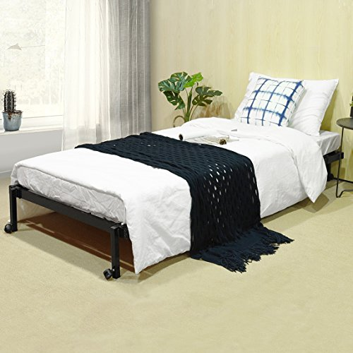 EGGREE 3FT Single Folding Bed Frame Metal Bed Base with Lockable Wheel Guest Bed Portable Bed- Black 190 x 90cm 4