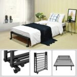 EGGREE 3FT Single Folding Bed Frame Metal Bed Base with Lockable Wheel Guest Bed Portable Bed- Black 190 x 90cm 24