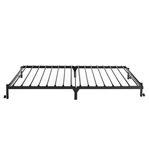 EGGREE 3FT Single Folding Bed Frame Metal Bed Base with Lockable Wheel Guest Bed Portable Bed- Black 190 x 90cm 9