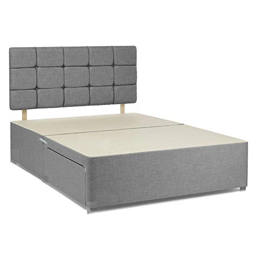 Grey chenille fabric divan bed base with headboard and drawers. (3FT single-no drawers) 1