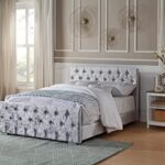 Home Treats Crushed Velvet Material Bed Frame | Double Bed Embossed With Diamante Jewels Plush Upholstered Finish… 14