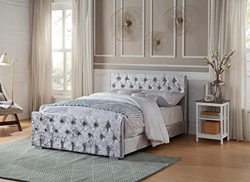 Home Treats Crushed Velvet Material Bed Frame | Double Bed Embossed With Diamante Jewels Plush Upholstered Finish… 3