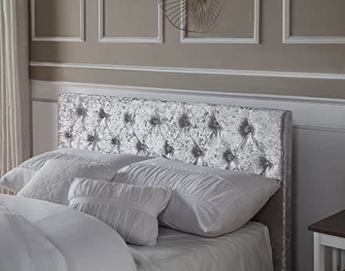 Home Treats Crushed Velvet Material Bed Frame | Double Bed Embossed With Diamante Jewels Plush Upholstered Finish… 4