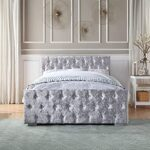Home Treats Crushed Velvet Material Bed Frame | Double Bed Embossed With Diamante Jewels Plush Upholstered Finish… 13