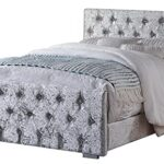 Home Treats Crushed Velvet Material Bed Frame | Double Bed Embossed With Diamante Jewels Plush Upholstered Finish… 16