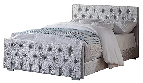 Home Treats Crushed Velvet Material Bed Frame | Double Bed Embossed With Diamante Jewels Plush Upholstered Finish… 5