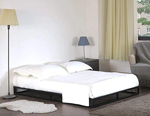 Home Treats Solid Metal Platform Bed Black. Minimalist Bed Frame 4FT 6 (Double 4ft 6, No Mattress) 4