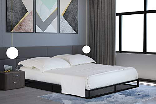 Home Treats Solid Metal Platform Bed Black. Minimalist Bed Frame 4FT 6 (Double 4ft 6, No Mattress) 1
