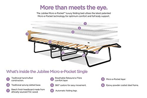 JAY-BE Jubilee Folding Bed with Micro e-Pocket Mattress, Fabric, Black, Compact, Single size 4