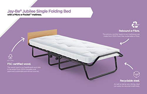 JAY-BE Jubilee Folding Bed with Micro e-Pocket Mattress, Fabric, Black, Compact, Single size 5