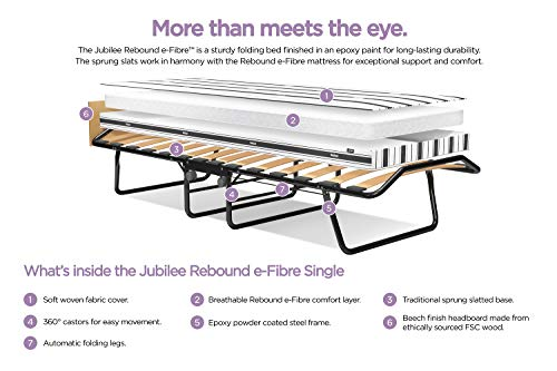 JAY-BE Jubilee Folding Bed with Rebound e-Fibre Mattress, Compact, Single 5