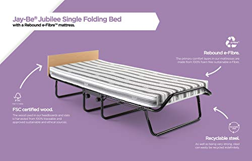 JAY-BE Jubilee Folding Bed with Rebound e-Fibre Mattress, Compact, Single 6