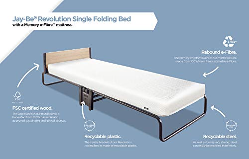 JAY-BE Revolution Folding Bed with Memory e-Fibre Mattress, Fabric, Black, Compact 7