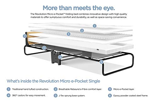 JAY-BE Revolution Folding Bed with Micro e-Pocket Mattress, Compact, Single 6
