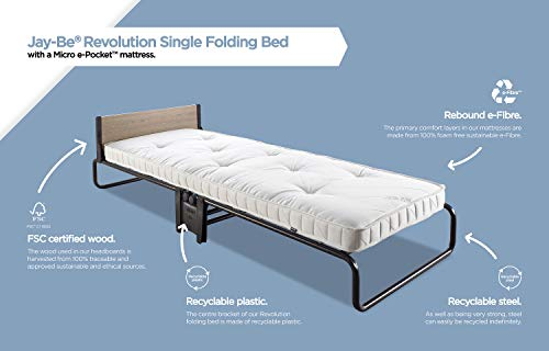 JAY-BE Revolution Folding Bed with Micro e-Pocket Mattress, Compact, Single 7