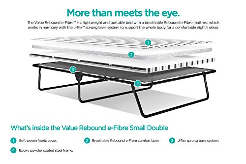 JAY-BE Value Folding Bed with Rebound e-Fibre Mattress, Fabric, Black, Easy Storage 6