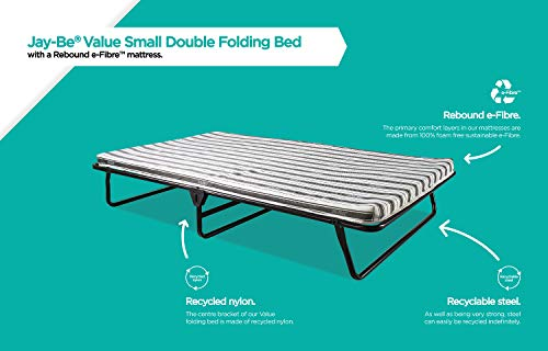 JAY-BE Value Folding Bed with Rebound e-Fibre Mattress, Fabric, Black, Easy Storage 7