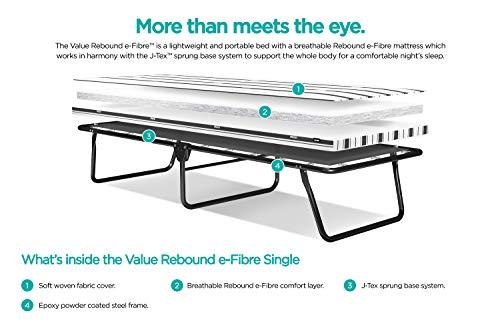 JAY-BE Value Folding Bed with Rebound e-Fibre Mattress, Fabric, Black, Lightweight 6
