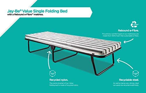 JAY-BE Value Folding Bed with Rebound e-Fibre Mattress, Fabric, Black, Lightweight 7