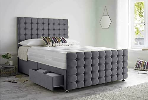 Luxurious Beds Grey Divan Bed with Mattress Headboard And 2 Bottom End Storage Drawers (Double 137CM X 200CM) 3