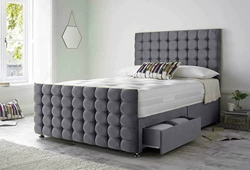 Luxurious Beds Grey Divan Bed with Mattress Headboard And 2 Bottom End Storage Drawers (Double 137CM X 200CM) 1
