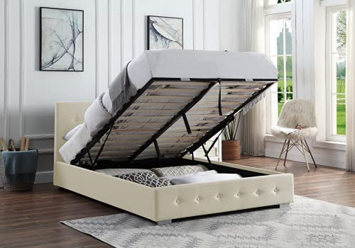 Ottoman Storage Bed Cream   Small Double Bed Frame With Storage & Gas Lift 4ft   Upholstered in Durable Cream Linen… 3