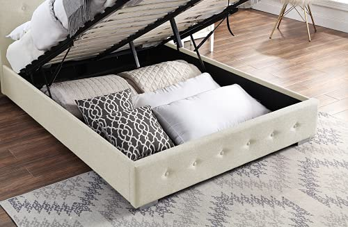 Ottoman Storage Bed Cream   Small Double Bed Frame With Storage & Gas Lift 4ft   Upholstered in Durable Cream Linen… 5