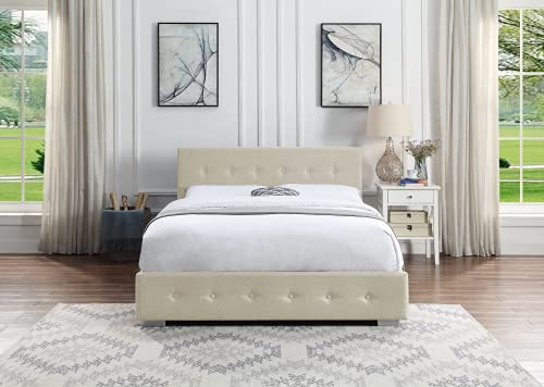 Ottoman Storage Bed Cream   Small Double Bed Frame With Storage & Gas Lift 4ft   Upholstered in Durable Cream Linen… 1
