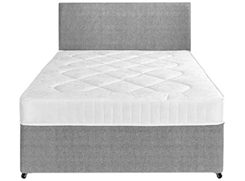 Perfect Sleep 4FT6 Double Fabric Divan Bed set Including Medium feel Mattress And Matching Headboard 1