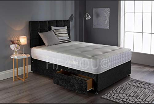 Saif Crushed Velvet Divan Bed Set With Memory Sprung Mattress, 2 Drawers and 24 Inch Grid Headboard (3FT Single, Black) 1
