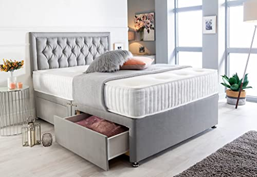Silver Plush Memory Foam Divan Bed Set With Tufted Mattress, 2 Drawers and Headboard (3FT Single) 1