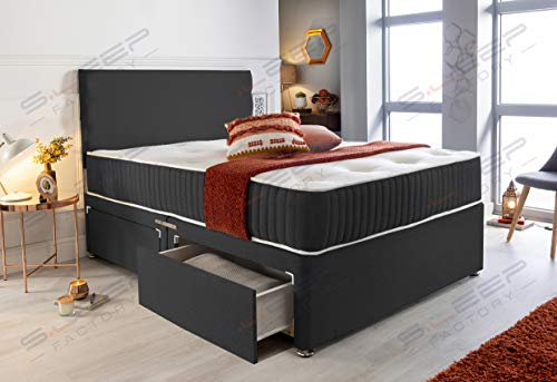 Sleep Factory's Black Fabric Memory Foam Divan Bed Set With Mattress And Headboard 3ft 4ft 4ft6 5ft 6ft Single Double… 3