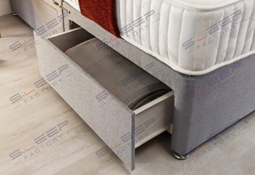 Sleep Factory's Grey Pearl 2 Drawer Divan Bed Set, Mattress and Headboard (2.6FT (Small Single)) 4