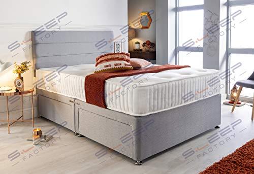Sleep Factory's Grey Pearl 2 Drawer Divan Bed Set, Mattress and Headboard (2.6FT (Small Single)) 1
