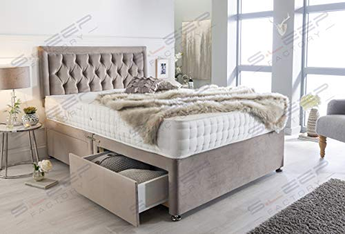 Sleep Factory's Luxury Divan Bed Set in Pebble Plush with Chesterfield Bumper Headboard and Memory Sprung Mattress 2.6FT… 3