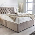 Sleep Factory's Luxury Divan Bed Set in Pebble Plush with Chesterfield Bumper Headboard and Memory Sprung Mattress 2.6FT… 13