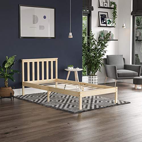 Vida Designs Milan Single Bed, 3ft, Bed Frame, Solid Pine Wood, Headboard, Low Foot End, Bedroom Furniture, Pine 3