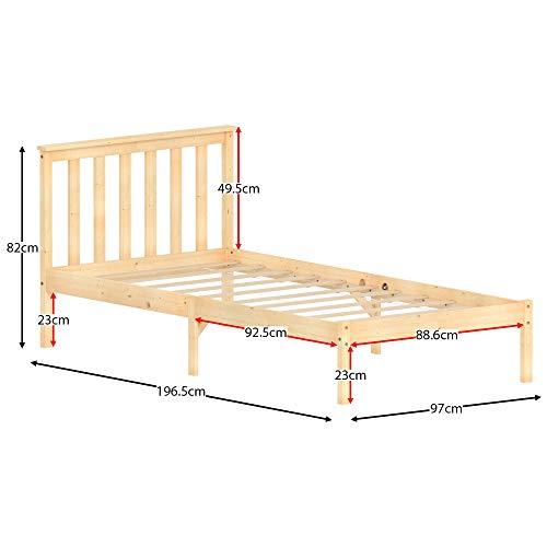 Vida Designs Milan Single Bed, 3ft, Bed Frame, Solid Pine Wood, Headboard, Low Foot End, Bedroom Furniture, Pine 8
