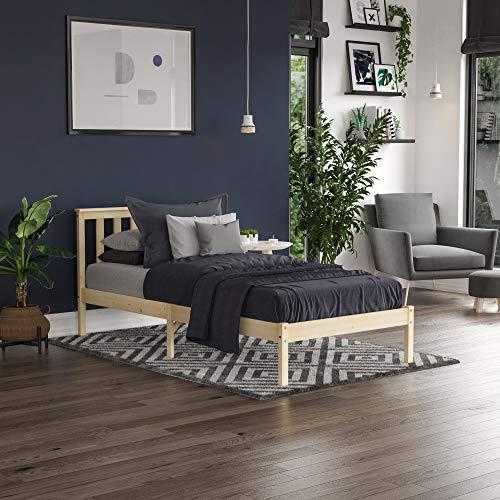 Vida Designs Milan Single Bed, 3ft, Bed Frame, Solid Pine Wood, Headboard, Low Foot End, Bedroom Furniture, Pine 1