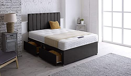 "Zidane Divan Bed Set 2 Drawers Same Side With 10"" Memory Sprung Mattress & 24"" Headboard (Black, 3FT SINGLE) 1"