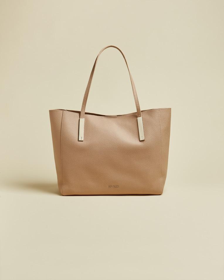 PIONILA Leather tote bag Taupe