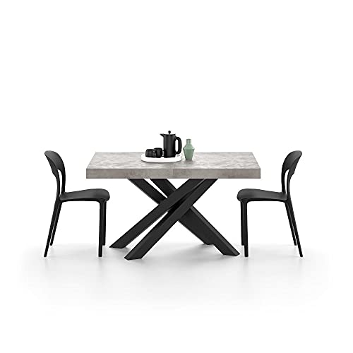 Mobili Fiver, Extendable table with white crossed legs Emma 140, Grey Concrete, Laminate-finished/Iron, Made in Italy