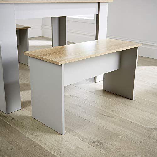 Home Source Grey Oak Dining Set Table with 2 Benches to Seat 4 Two Tone, Kitchen