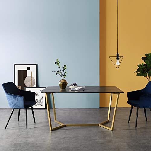 Cherry Tree Furniture SIERRE 6-Seater Dark Oak Dining Table with Geometric Metal Legs