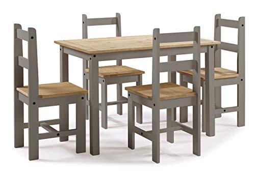 Mercers Furniture Corona Grey Wax Budget Dining Table and 4 Chairs