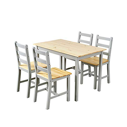 Panana Wooden Dining Table with 4 Chairs Sets Contemporary Dining Room Furniture Three Colors for Choose