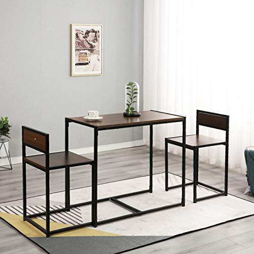 SogesHome Dining Table Set, Dining Table & 2 Chairs, Compact Kitchen Table Set, 3-Piece Space Saving Dining Room Table Set, SH-LD-CT01WNT