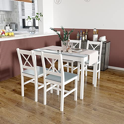 Meerveil Dining Table and Chairs Set 4, Dining Room Sets, Solid Pine Wood, Classic Style for Dining Kitchen home 108 x 65 x 73 cm