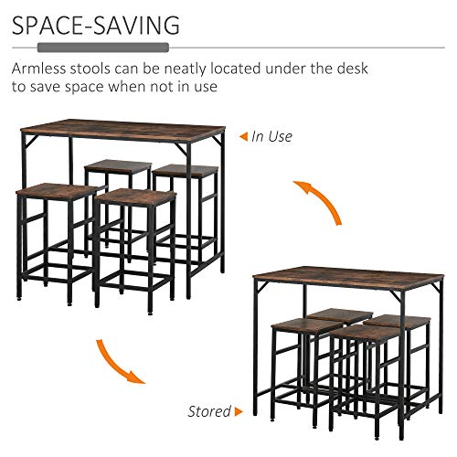 HOMCOM Industrial Rectangular Bar Table Set with 4 Stools for Dining Room, Kitchen, Dinette