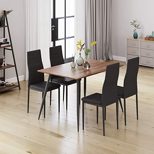 Industrial Extendable Dining Table, Rectangular Kitchen Table with Metal Legs, Extends from 120-160cm, Walnut